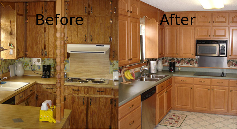 Cabinet refacing pensacola kitchen cabinet restoration for Refinishing kitchen cabinets before and after